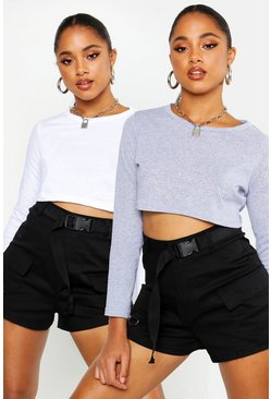 Womens White 2 Pack Long Sleeved Cropped Crew Neck Top