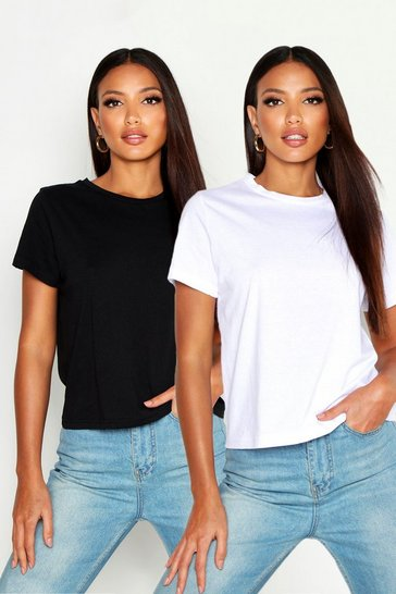 Womens Black 2 Pack Crew Neck T-Shirt