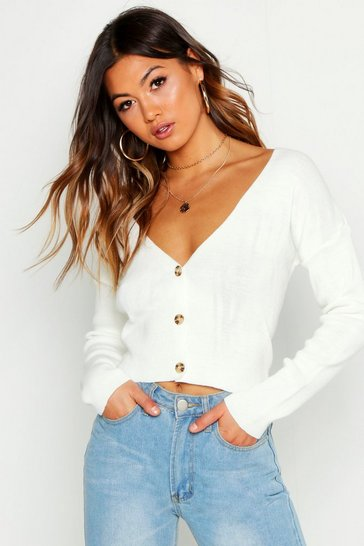 Womens Cream Super Cropped Button Through Cardigan