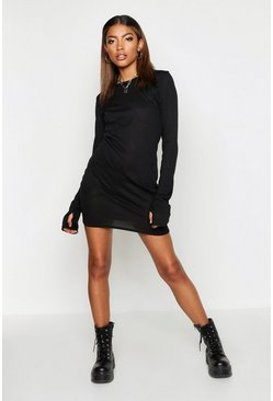 Womens Black Fine Knit Long Sleeve Mini Dress