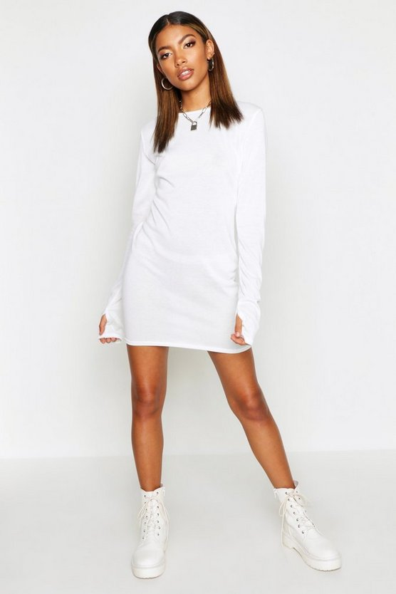 Womens White Fine Knit Long Sleeve Mini Dress