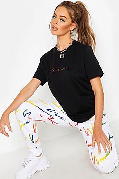 Rainbow Foil Woman Script Slogan T-Shirt