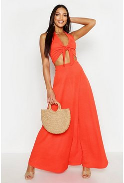 Womens Orange Floor Sweeping Maxi Skirt