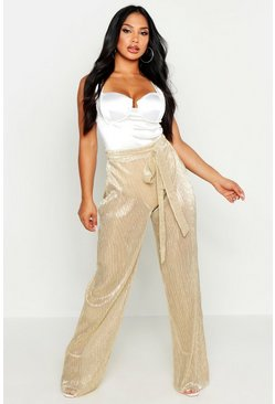Gold Metallic Pleated Plisse Tie Waist Pants