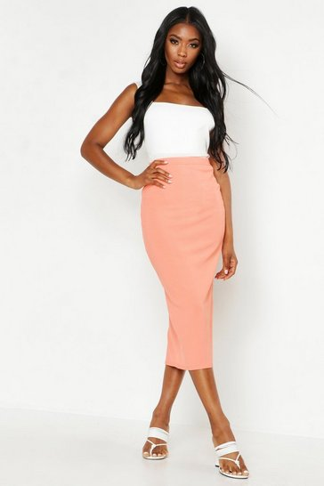 Womens Coral Ribbed Midaxi Skirt