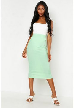 Womens Mint Ribbed Midaxi Skirt