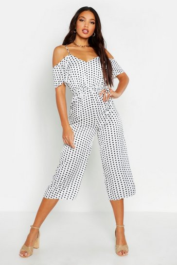 Womens Ivory Polka Dot Cold Shoulder Jumpsuit