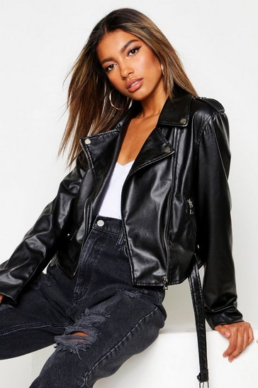 Womens Black Boxy Belted Faux Leather Biker Jacket