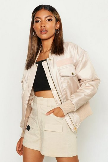 Womens Stone Pocket Detail Bomber Jacket