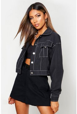 Womens Black Contrast Stitch Trucker Jacket