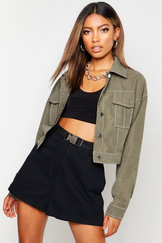 Womens Khaki Contrast Stitch Trucker Jacket