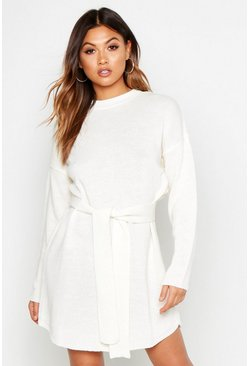 Womens Cream Belted Crew Neck Mini Dress