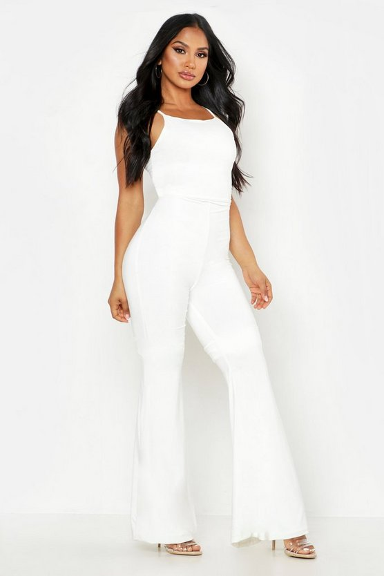 Womens Ivory Double Up Flare Jumpsuit