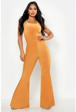 Womens Mustard Double Up Flare Jumpsuit