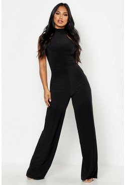 Womens Black Double Up Halterneck Wide Leg Jumpsuit