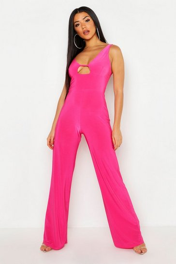 Womens Hot pink Asymmetric Shoulder Jumpsuit