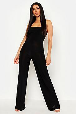 70s Jumpsuit   Disco Jumpsuits – Sequin, Striped, Gold, White, Black Disco Slinky Square Neck Wide Leg Jumpsuit $36.00 AT vintagedancer.com