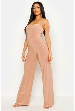 Mocha Square Neck Wide Leg Jumpsuit