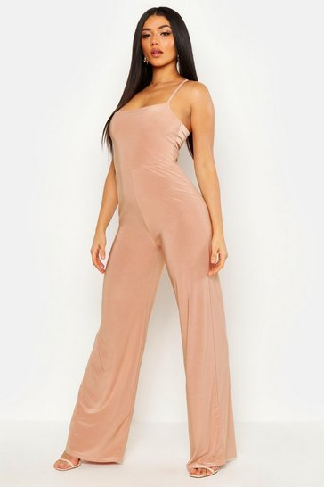 Womens Mocha Square Neck Wide Leg Jumpsuit