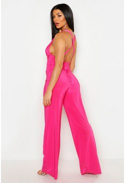 Hot pink Cowl Neck Tie Back Jumpsuit