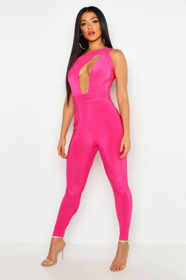 Womens Hot pink One Shoulder Cut Out Jumpsuit