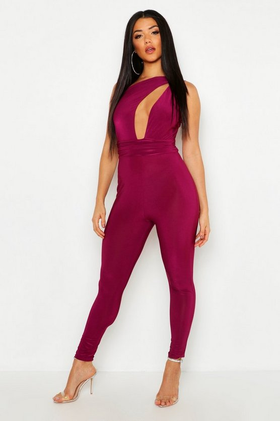 Womens Magenta One Shoulder Cut Out Jumpsuit