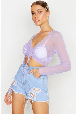 Womens Lilac Ruched Front Long Sleeve Mesh Crop Top