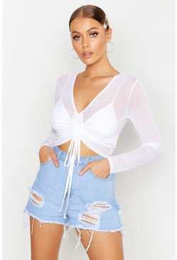 White Ruched Front Long Sleeve Mesh Crop Top