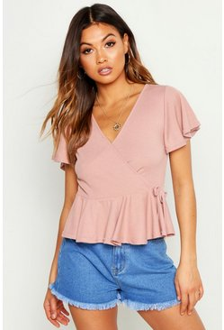 Womens Blush Rib Wrap Peplum Top