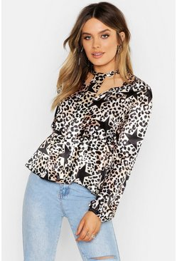 Womens Black Satin Leopard Star Print Pussy Bow Blouse