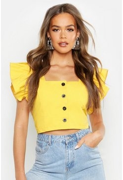 Womens Mustard Button Front Frill Sleeve Woven Top