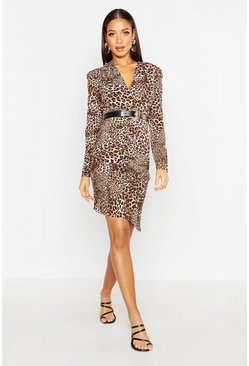 Womens Brown Leopard Ruched Front Belted Dress