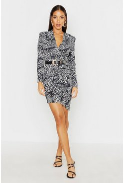 Womens Grey Leopard Ruched Front Belted Dress