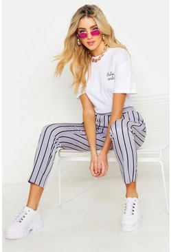 Womens Grey Stripe Tailored Trouser