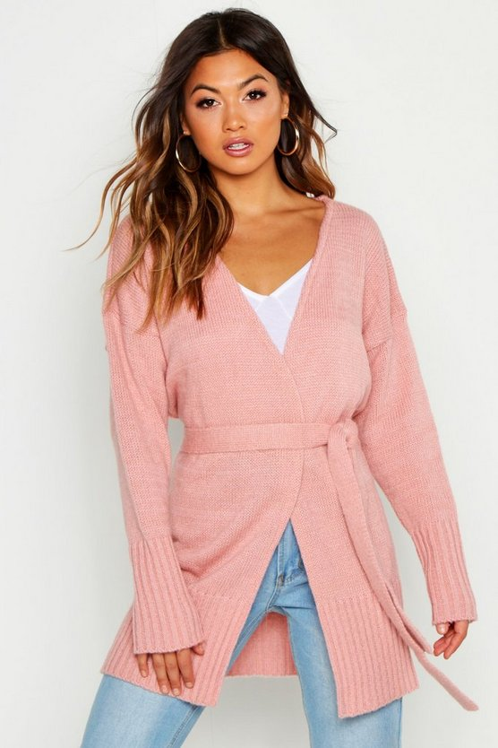 Womens Blush Wrap Detail Longline Cardigan