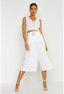 Womens Ivory O-Ring Tailored Culottes