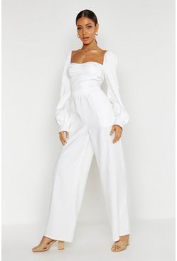 Womens Ivory Pin Tuck Linen Look Wide Leg Trousers