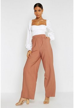 Womens Terracotta Pin Tuck Linen Look Wide Leg Trousers