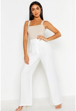 Womens Ivory Linen Look Relaxed Trouser
