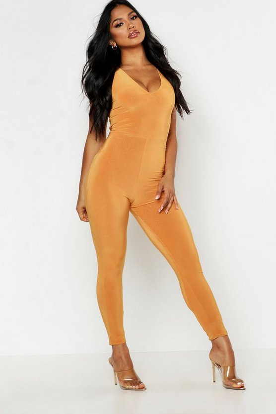 Womens Mustard Double Up Plunge Front Jumpsuit