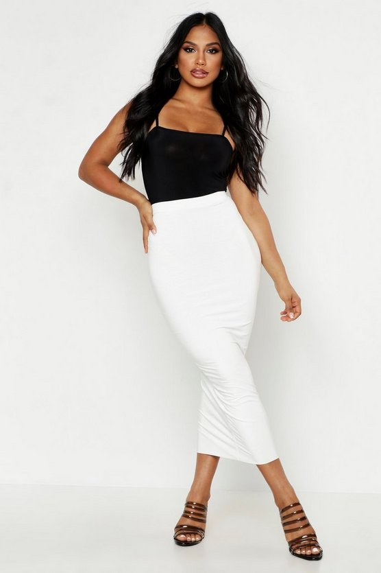 Womens Ivory Double Up Slinky Midaxi Skirt