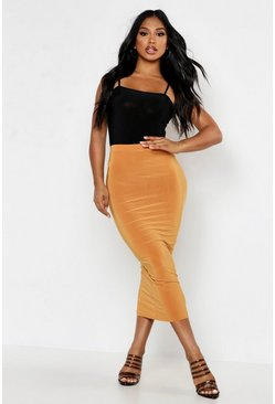 Womens Mustard Double Up Slinky Midaxi Skirt