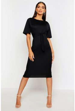 Womens Black Wrap Detail Midi Dress