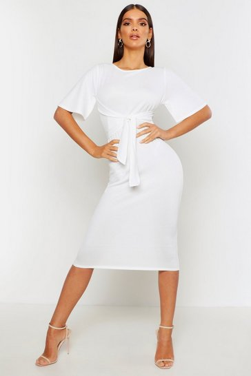 Womens Ivory Wrap Detail Midi Dress