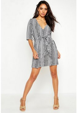 Womens Black Stripe Detail Wrap Dress