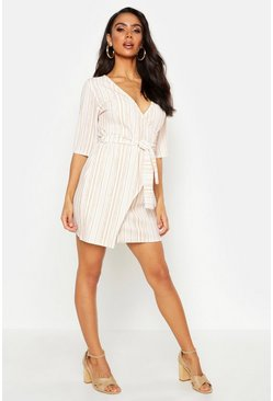 Womens Camel Stripe Detail Wrap Dress