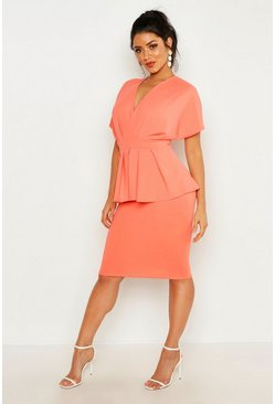 Womens Apricot Peplum Detail Midi Dress
