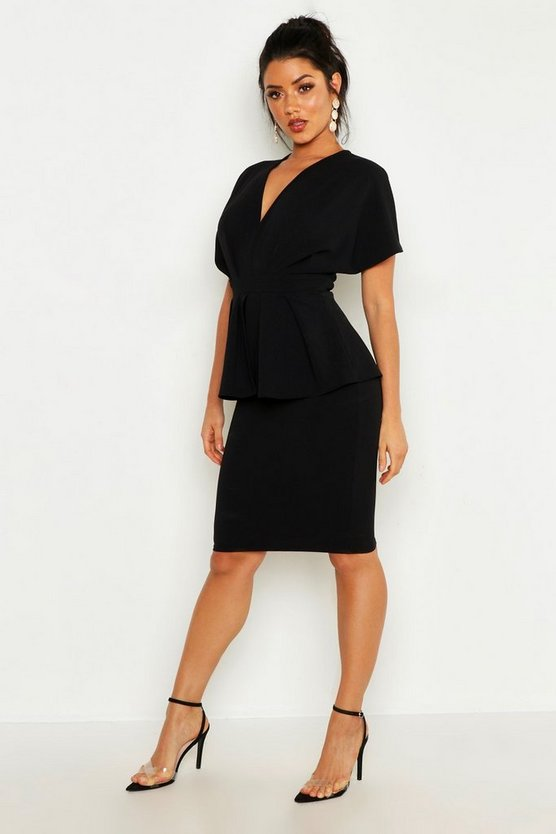 Womens Black Peplum Detail Midi Dress