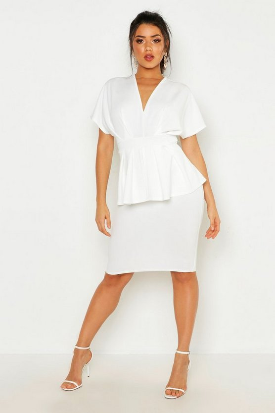 Womens Ivory Peplum Detail Midi Dress