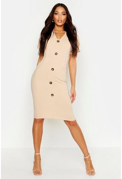 Stone Button Through Midi Dress